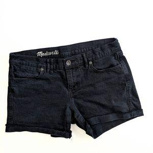 Madewell Washed Black Mid Rise Denim Shorts 28
